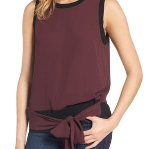 Trouve Burgundy Tie Front Sleeveless Top NWT